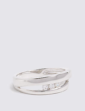 Sterling Silver Triple Stone Open Ring
