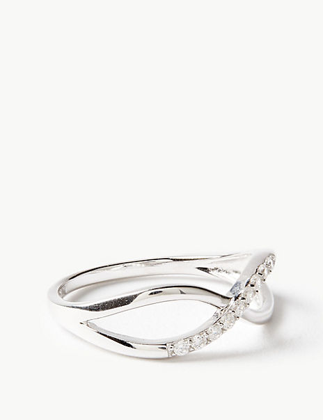 Sterling Silver Cross Over Ring