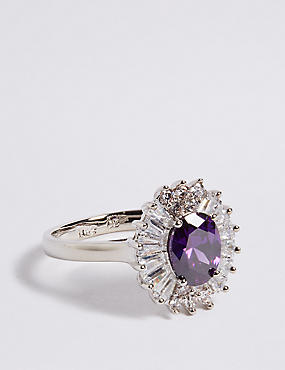 Platinum Plated Baguette Regal Ring