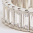 Platinum Plated Baguette Band Ring, SILVER, swatch