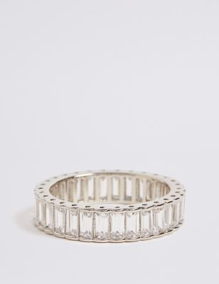 Platinum Plated Baguette Band Ring by Marks & Spencer