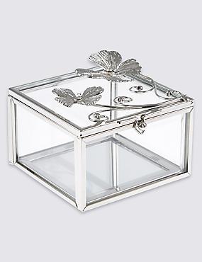 Flutter Metal Diamanté Butterfly Jewellery Box