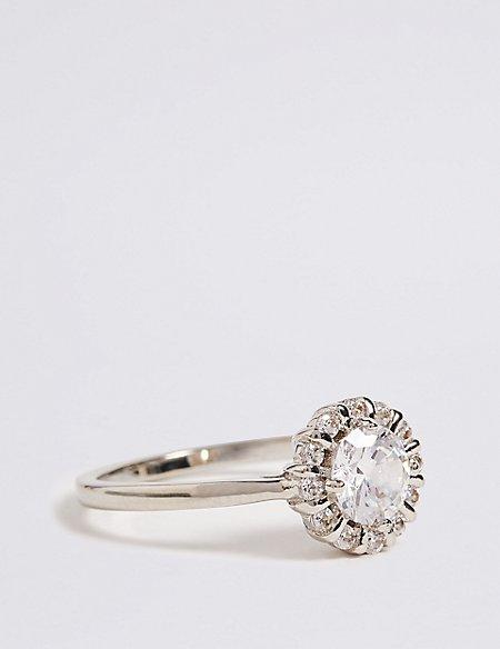 Platinum Plated Round Stone Ring