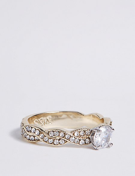 Gold Plated Pave Twist Floral Diamanté Ring