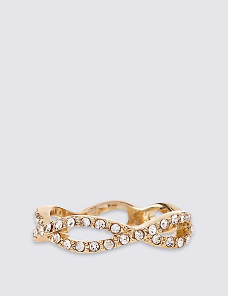 Gold Plated Diamanté Eye Ring