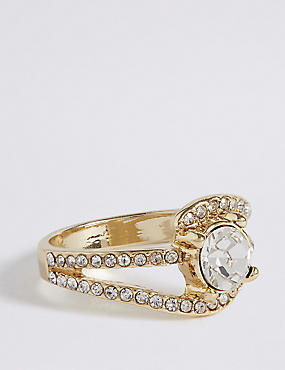 Gold Plated Diamanté Curved Pave Ring