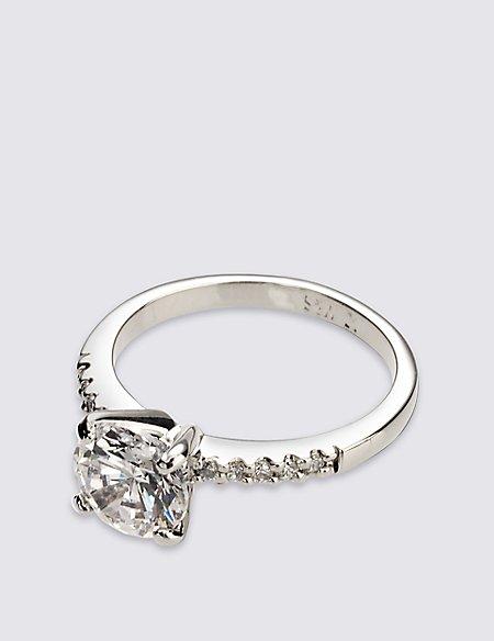 Platinum Plated Diamanté Ring