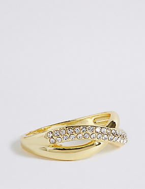 Gold Plated Diamanté Pave Ring