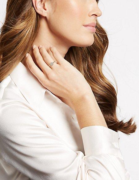 Gold Plated Pave Shoulder Ring