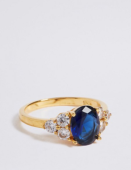 Gold Plated Shoulder Stone Ring