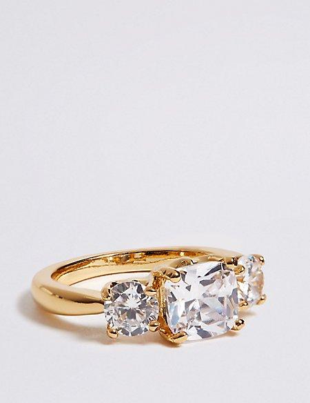 The Duchess Diamanté Three Stone Ring
