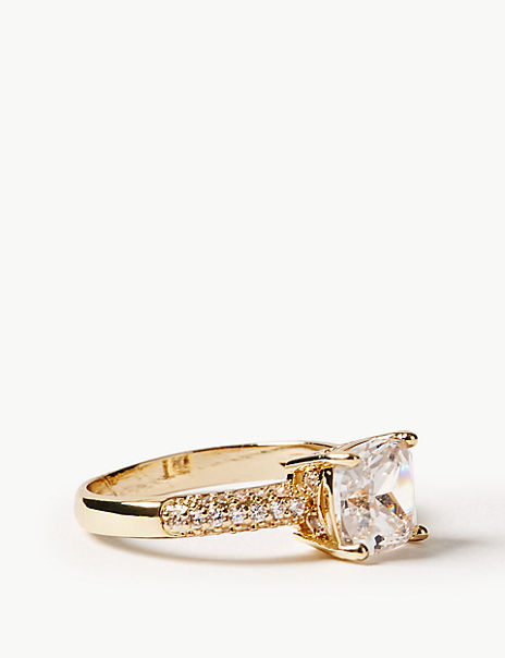 Gold Plated Square Sparkle Ring