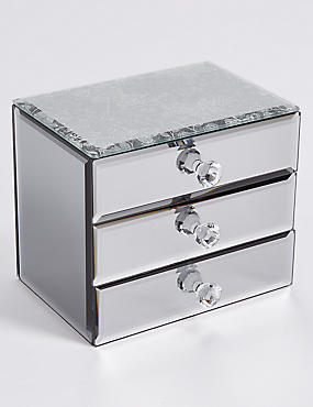 Glitter Diamanté 3 Drawer Jewellery Box