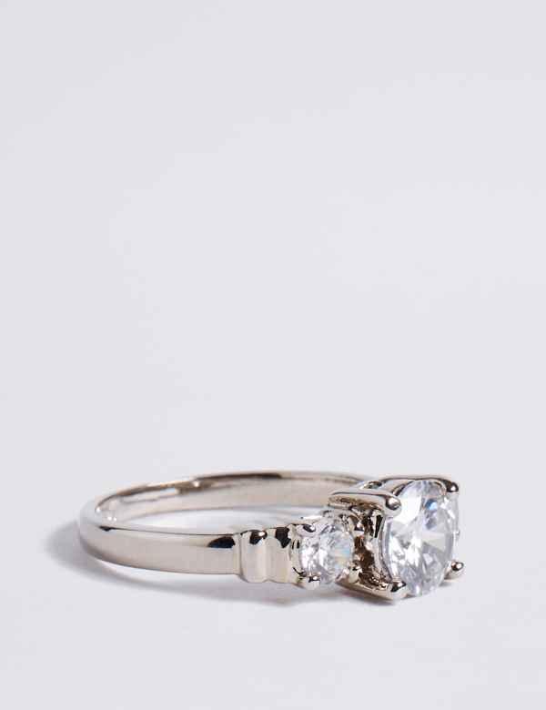 3028aba1e Platinum Plated Trio Classic Diamanté Ring