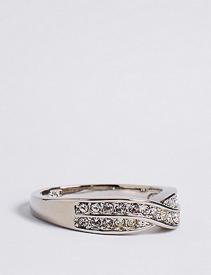 Marks and Spencer Platinum Plated Double Crossover Diamanté Ring white mix GZhWlH