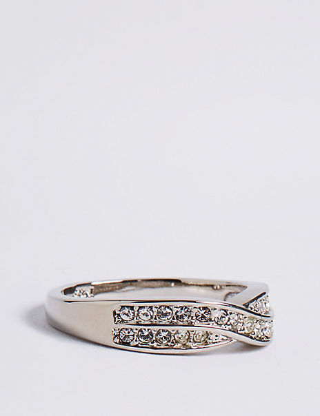 Platinum Plated Double Crossover Diamanté Ring