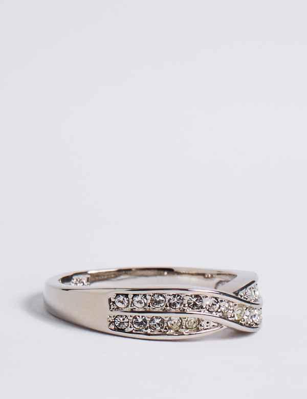 90c8c7bd3 Platinum Plated Double Crossover Diamanté Ring