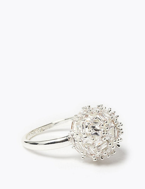 Silver Plated Sparkle Ball Ring