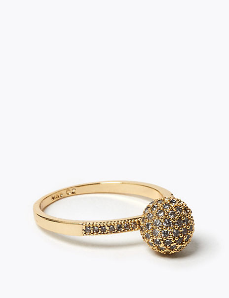 Gold Plated Sparkle Mini Ball Ring