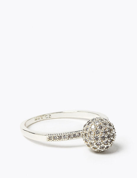 Silver Plated Sparkle Mini Ball Ring