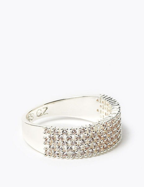 Silver Plated Sparkle Band Ring