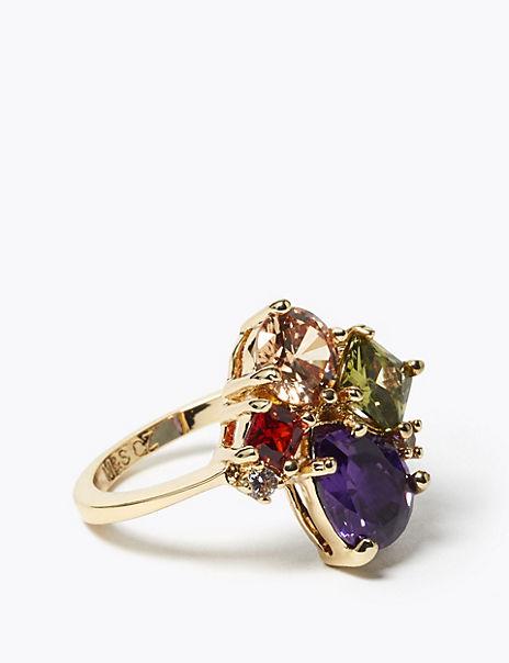 Gold Plated Gem Cluster Ring