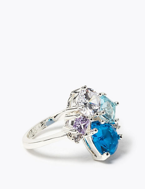Silver Plated Gem Cluster Ring