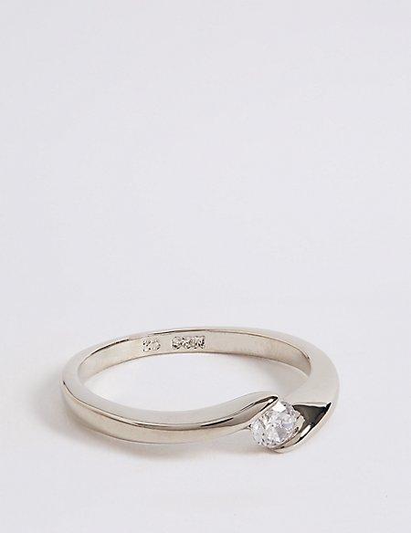 Platinum Plated Twisted Diamanté Ring