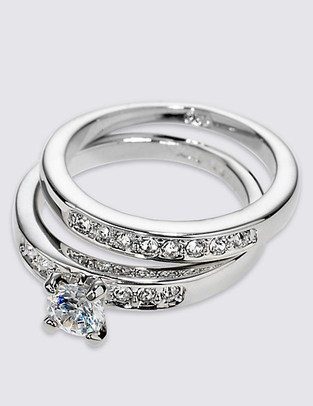 Platinum Plated Diamanté Rings