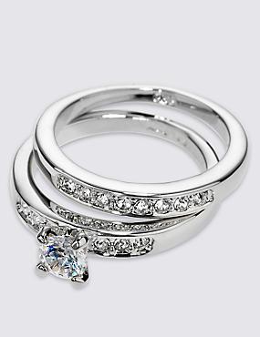 Platinum Plated Diamanté Rings