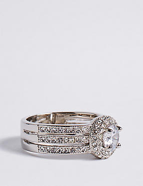 Marks and Spencer Platinum Plated Trio Classic Diamanté Ring white mix