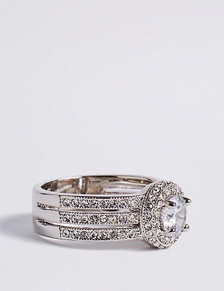 Platinum Plated Millgrain Eternity Diamanté Ring