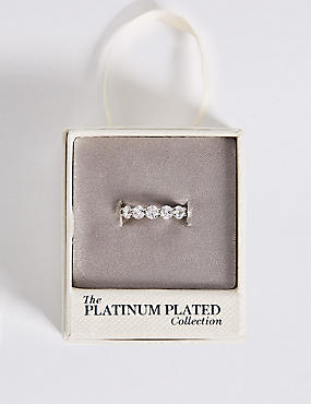Platinum Plated Diamanté Band Ring