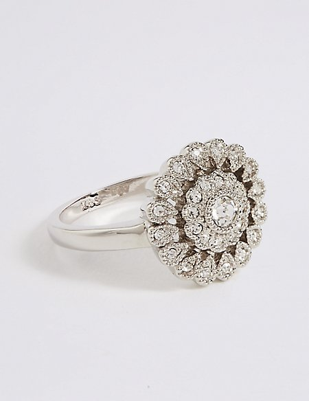 Platinum Plated Vintage Style Floral Diamanté Ring