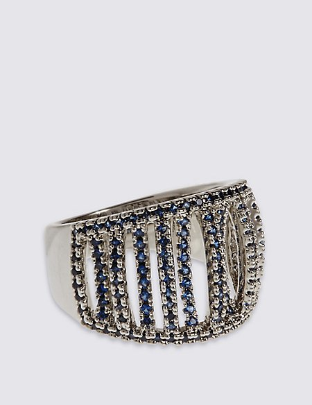 Platinum Plated Pave Caged Ring