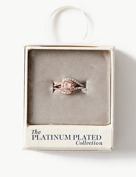 Platinum Plated Rose Twist Ring