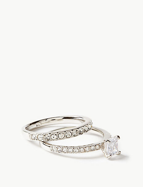 Platinum Plated Engagement Ring & Band Set