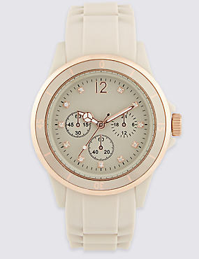 Round Face Diamanté Analogue Sports Watch