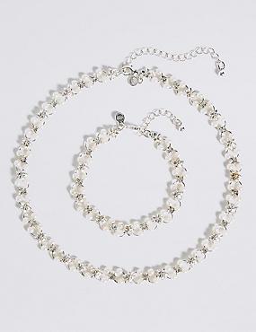 Pearl Effect Flower Choker Necklace & Bracelet Set