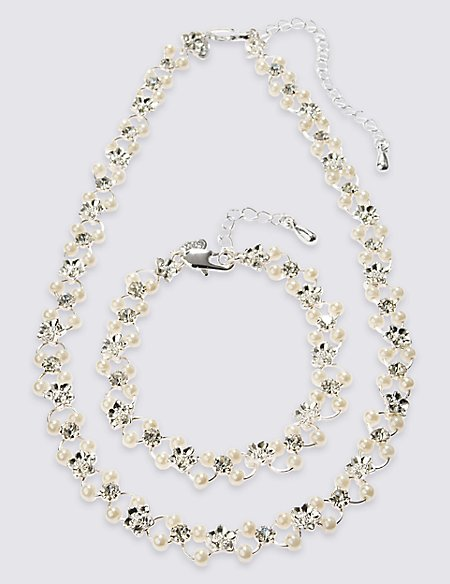 Pearl Effect Flower Choker Necklace & Bracelet Set