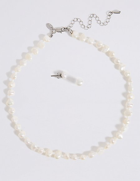 Fresh Water Pearl Clic Necklace Earrings Set