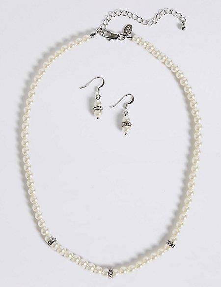 Pearl Effect Diamanté Ring Necklace & Earrings Set