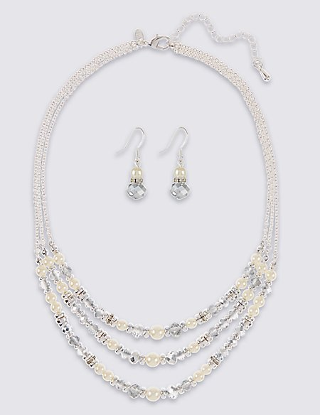 Pearl Effect Multi-Row Assorted Luxurious Necklace & Earrings Set