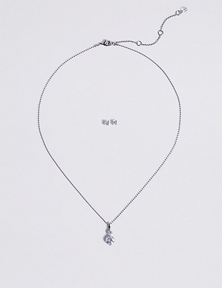 Platinum Plated Necklace & Earrings Set