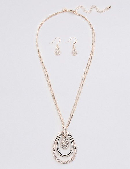 Pave Disc Necklace & Earrings Set