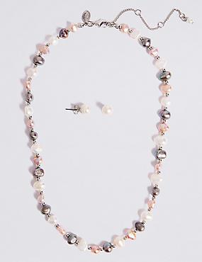 Fresh Water Pearl Necklace & Earrings Set