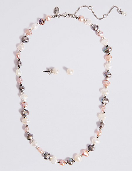 Fresh Water Pearl Necklace & Earrings Set