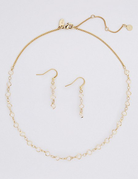 Gold Plated Necklace & Earrings Set