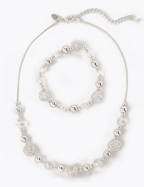 Beaded Necklace & Bracelet Set