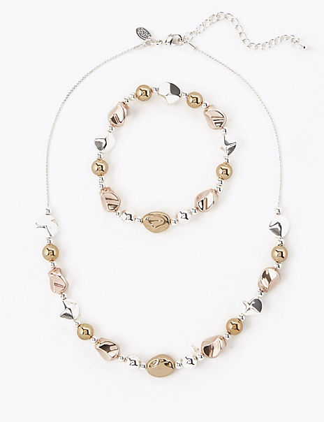 Silver Plated Nugget Necklace & Bracelet Set